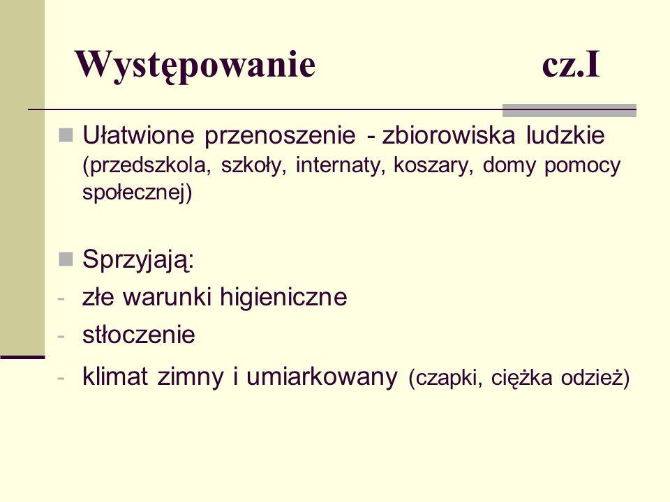 Występowanie cz.II Najczęściej zarażają się dzieci w wieku 3-12 lat (kontaktowe zabawy, nie w pełni wyrobione nawyki higieniczne) Wszawica środowiskowa (przewlekła) w Polsce dotyczy od 0,6% do 2,0% dzieci w wieku szkolnym (wg.