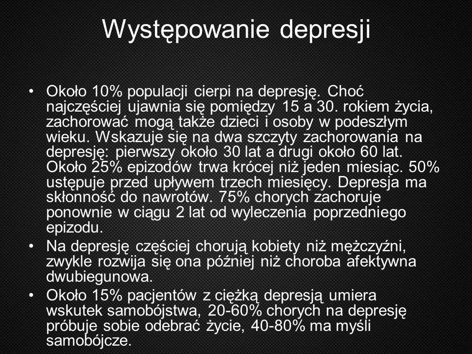 Występowanie depresji Około 10% populacji cierpi na depresję. Choć najczęściej ujawnia się pomiędzy 15 a 30. rokiem życia, zachorować mogą także dziec