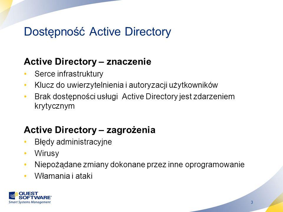 4 Dostępność Active Directory Manualne metody odtwarzania AD (efektywność) zawierają ryzyko błędu człowieka w trakcie odtwarzania (praca pod wysoką presją) wymagają wysoko wyspecjalizowanej wiedzy nt.