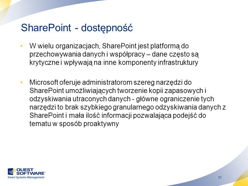 31 SharePoint - dostępność W wielu organizacjach, SharePoint jest platformą do przechowywania danych i współpracy – dane często są krytyczne i wpływaj