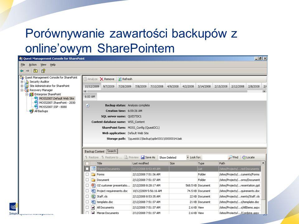 39 Porównywanie zawartości backupów z onlineowym SharePointem