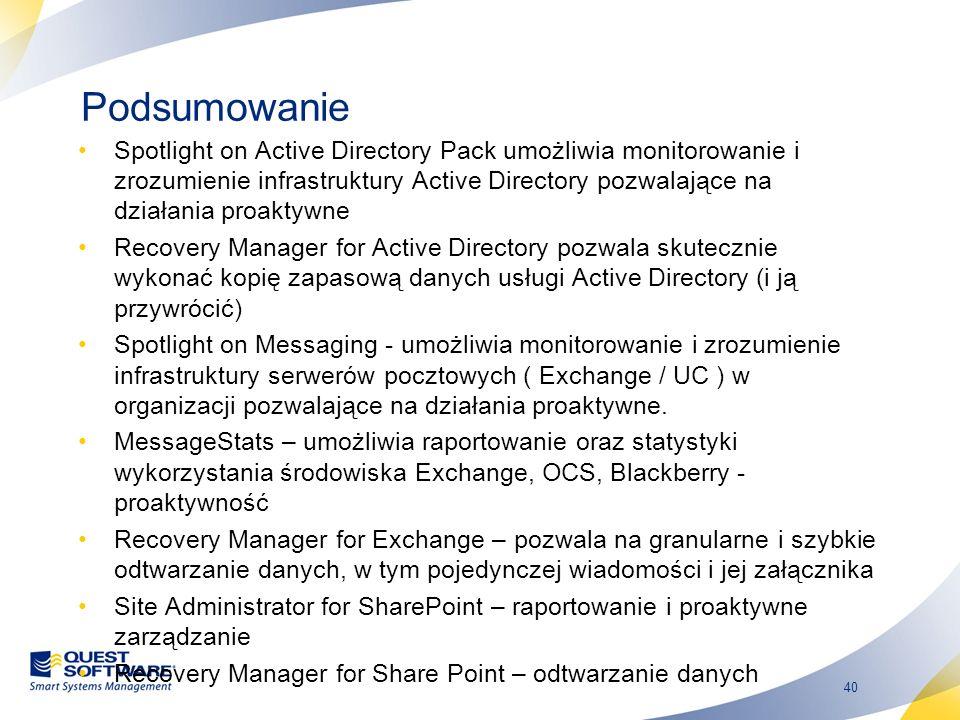 40 Podsumowanie Spotlight on Active Directory Pack umożliwia monitorowanie i zrozumienie infrastruktury Active Directory pozwalające na działania proa