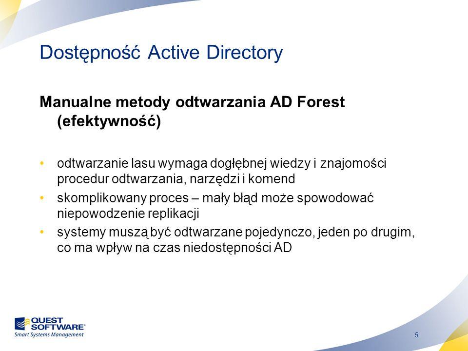 5 Dostępność Active Directory Manualne metody odtwarzania AD Forest (efektywność) odtwarzanie lasu wymaga dogłębnej wiedzy i znajomości procedur odtwa