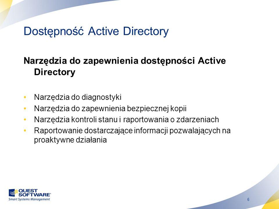 17 Więcej niż tylko użytkownicy i grupy Recovery Manager for Active Directory można przywrócić wszystkie kluczowe aspekty Active Directory Można przywrócić poszczególne obiekty i atrybuty do zdalnych kontrolerów domeny Recovery Manager obsługuje nawet Active Directory Lightweight Directory Services (AD LDS) Recovery Manager umożliwia także korzystanie z innych typów kopii zapasowych AD Recovery Manager łatwo integruje się z istniejącymi procesami tworzenia kopii zapasowych i narzędzi