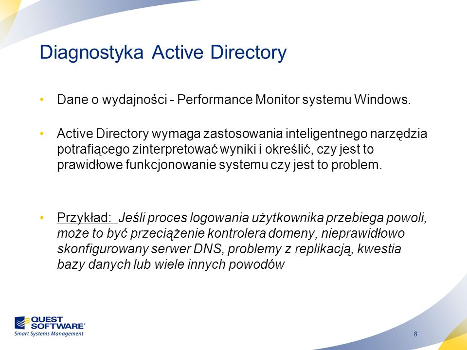 8 Diagnostyka Active Directory Dane o wydajności - Performance Monitor systemu Windows.