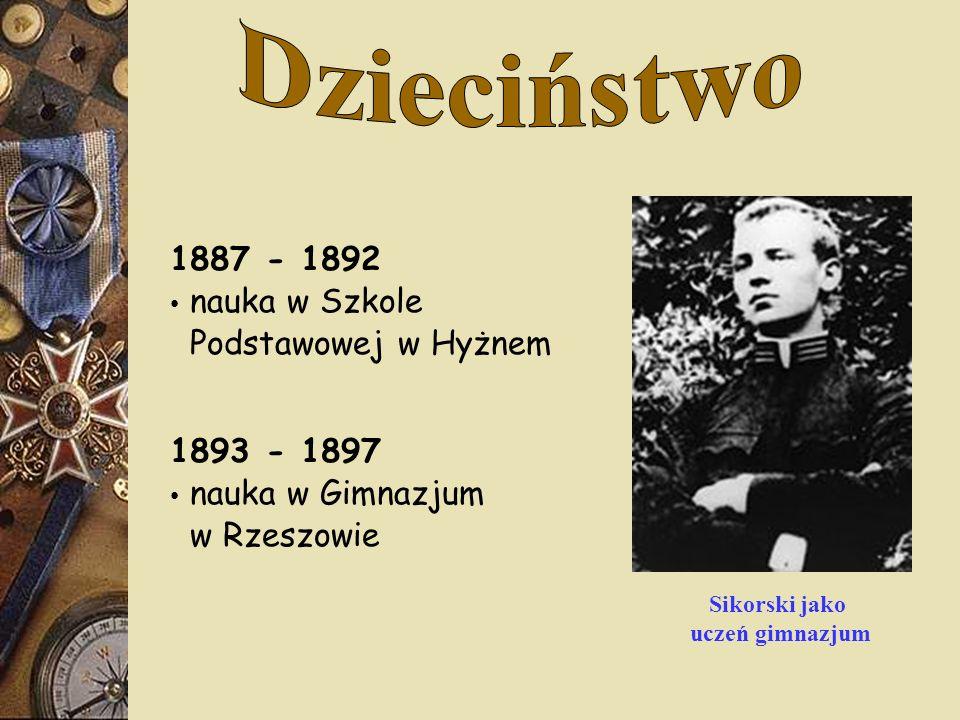 1887 - 1892 nauka w Szkole Podstawowej w Hyżnem 1893 - 1897 nauka w Gimnazjum w Rzeszowie Sikorski jako uczeń gimnazjum