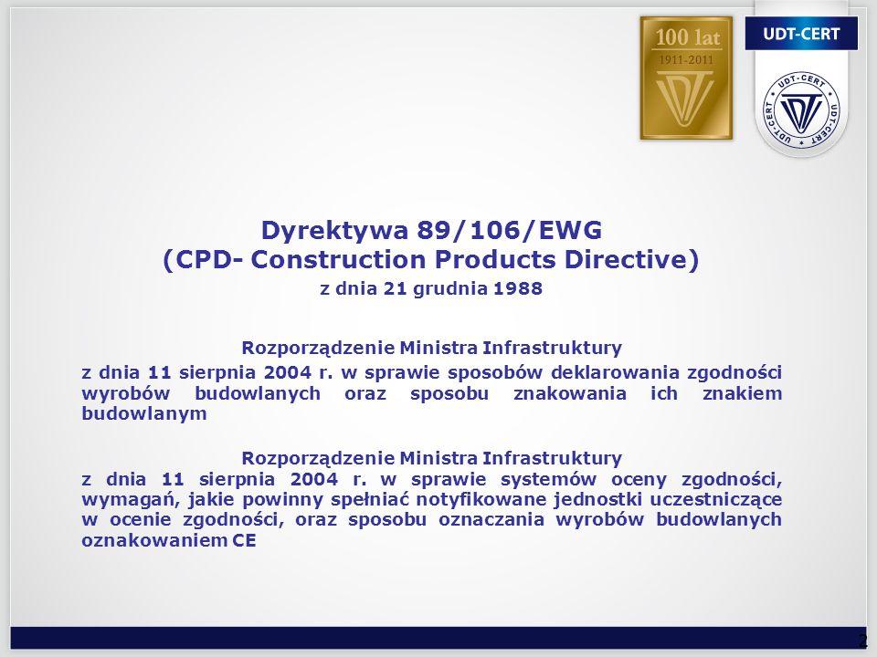 3 Ocena zgodności wyrobu ze zharmonizowanymi Normami Europejskimi i europejskimi aprobatami technicznymi dokonywana jest wg systemów oceny zgodności, określonych w dyrektywie 89/106/EWG.