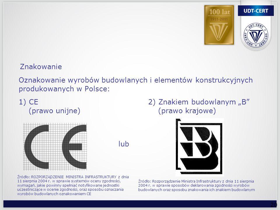 20 Znakowanie Oznakowanie wyrobów budowlanych i elementów konstrukcyjnych produkowanych w Polsce: 1) CE 2) Znakiem budowlanym B (prawo unijne) (prawo