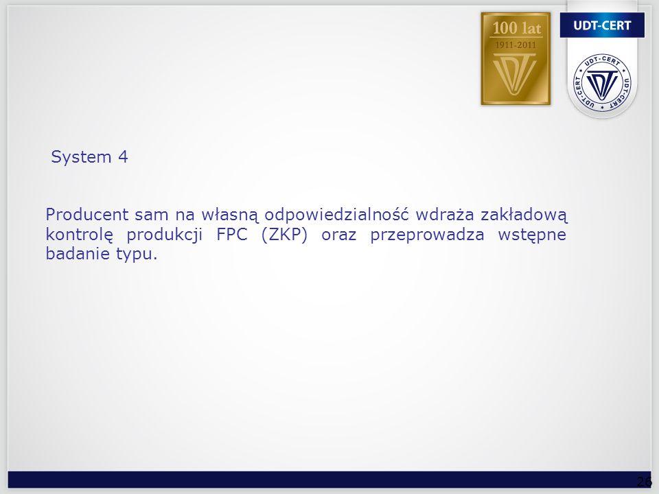 26 Producent sam na własną odpowiedzialność wdraża zakładową kontrolę produkcji FPC (ZKP) oraz przeprowadza wstępne badanie typu. System 4
