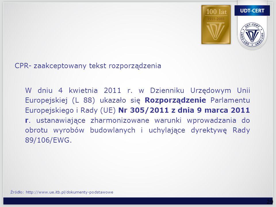 29 W dniu 4 kwietnia 2011 r. w Dzienniku Urzędowym Unii Europejskiej (L 88) ukazało się Rozporządzenie Parlamentu Europejskiego i Rady (UE) Nr 305/201