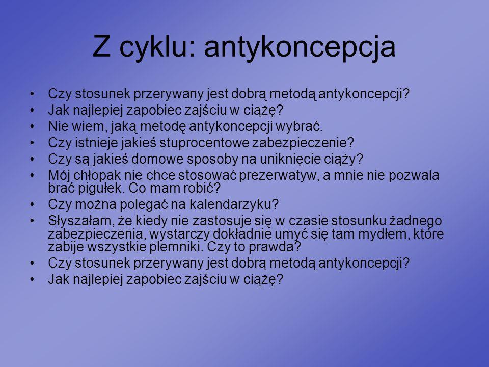 Z cyklu: antykoncepcja Czy stosunek przerywany jest dobrą metodą antykoncepcji? Jak najlepiej zapobiec zajściu w ciążę? Nie wiem, jaką metodę antykonc