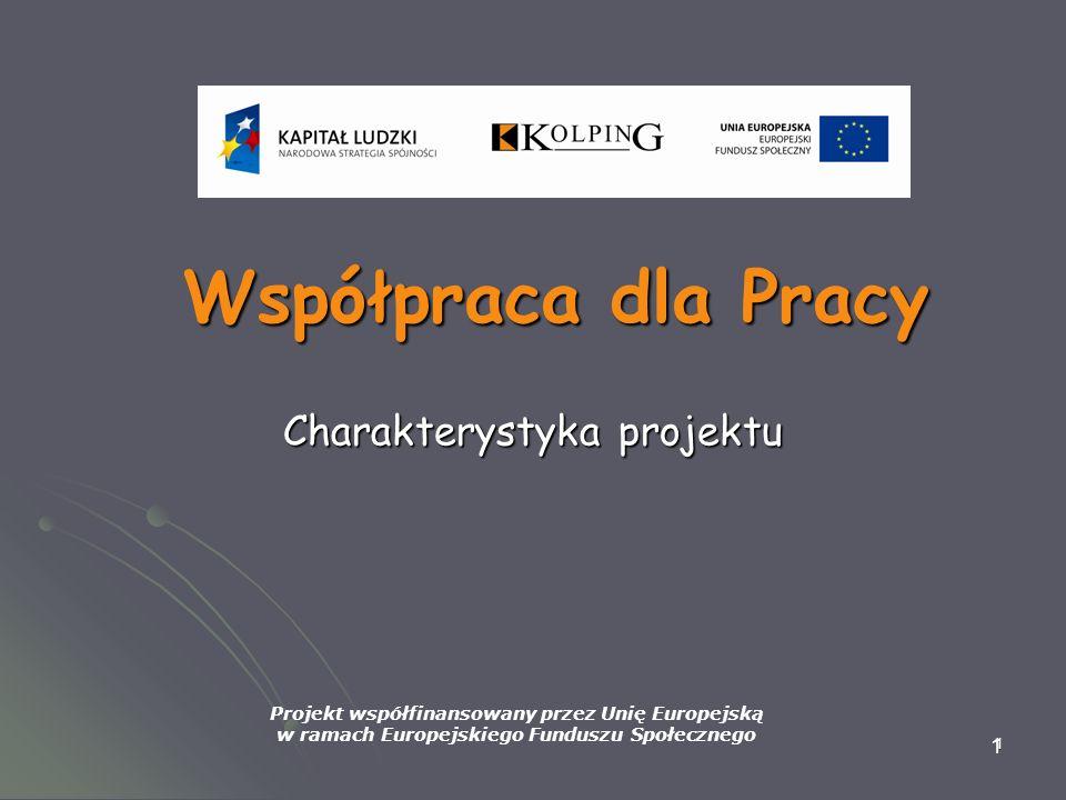1 1 Współpraca dla Pracy Charakterystyka projektu Projekt współfinansowany przez Unię Europejską w ramach Europejskiego Funduszu Społecznego