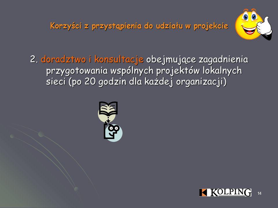 14 Korzyści z przystąpienia do udziału w projekcie 2. doradztwo i konsultacje obejmujące zagadnienia przygotowania wspólnych projektów lokalnych sieci