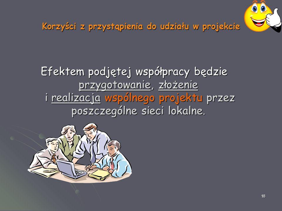 18 Korzyści z przystąpienia do udziału w projekcie Efektem podjętej współpracy będzie przygotowanie, złożenie i realizacja wspólnego projektu przez poszczególne sieci lokalne.
