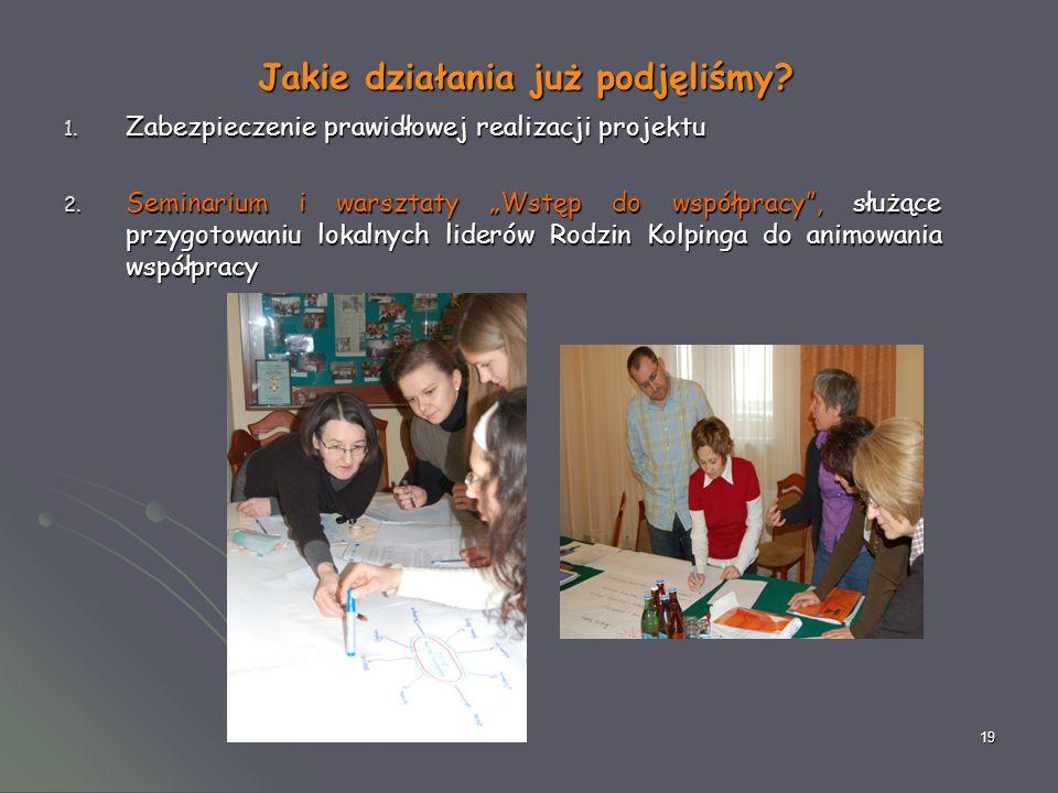 19 Jakie działania już podjęliśmy. 1. Zabezpieczenie prawidłowej realizacji projektu 2.