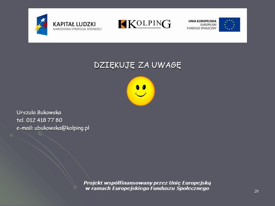 29 DZIĘKUJĘ ZA UWAGĘ Urszula Bukowska tel. 012 418 77 80 e-mail: ubukowska@kolping.pl Projekt współfinansowany przez Unię Europejską w ramach Europejs