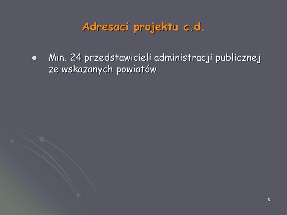 8 Adresaci projektu c.d. Min. 24 przedstawicieli administracji publicznej ze wskazanych powiatów Min. 24 przedstawicieli administracji publicznej ze w