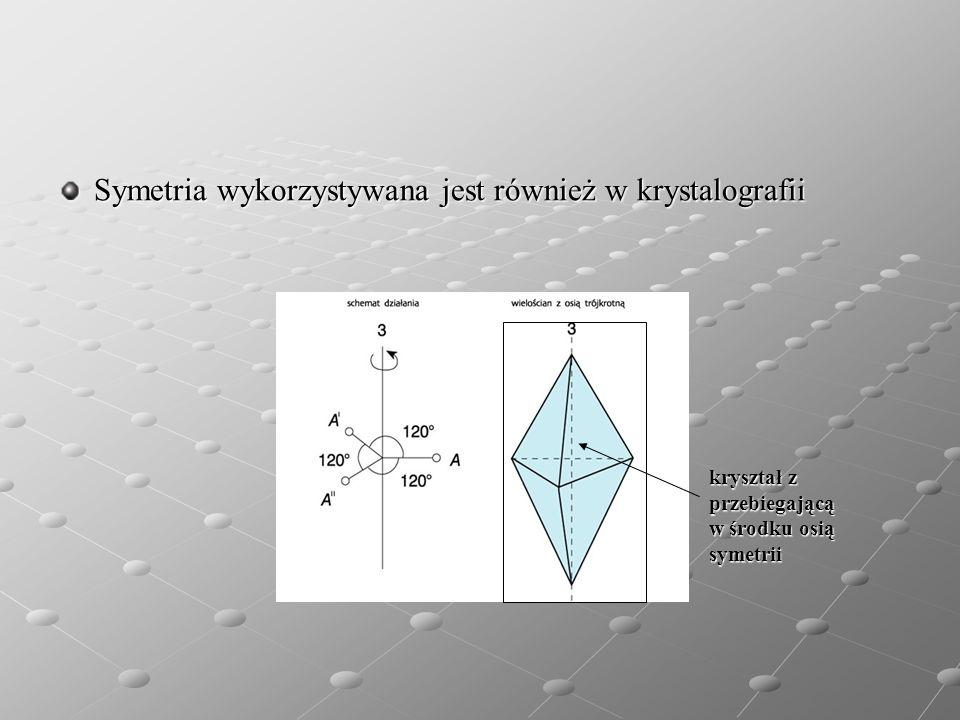 Symetria wykorzystywana jest również w krystalografii kryształ z kryształ z przebiegającą przebiegającą w środku osią w środku osią symetrii symetrii