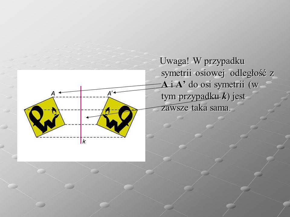 Uwaga! W przypadku symetrii osiowej odległość z A i A do osi symetrii (w tym przypadku k) jest zawsze taka sama. Uwaga! W przypadku symetrii osiowej o