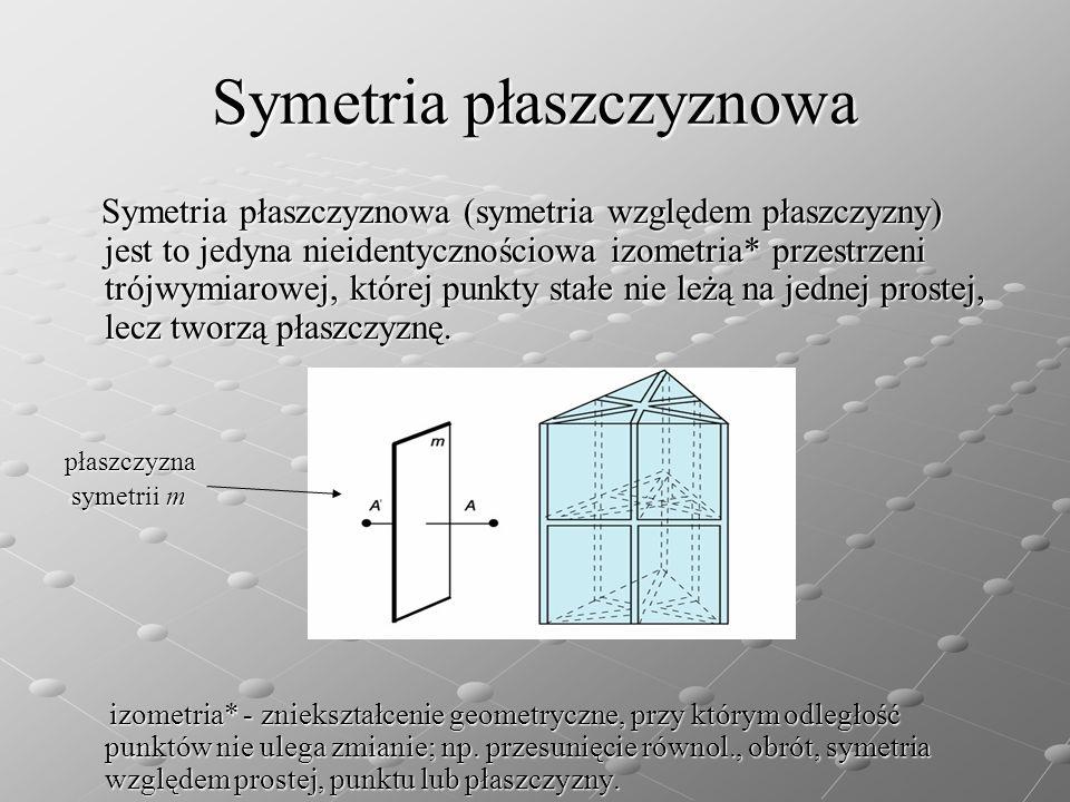 Symetria płaszczyznowa Symetria płaszczyznowa (symetria względem płaszczyzny) jest to jedyna nieidentycznościowa izometria* przestrzeni trójwymiarowej