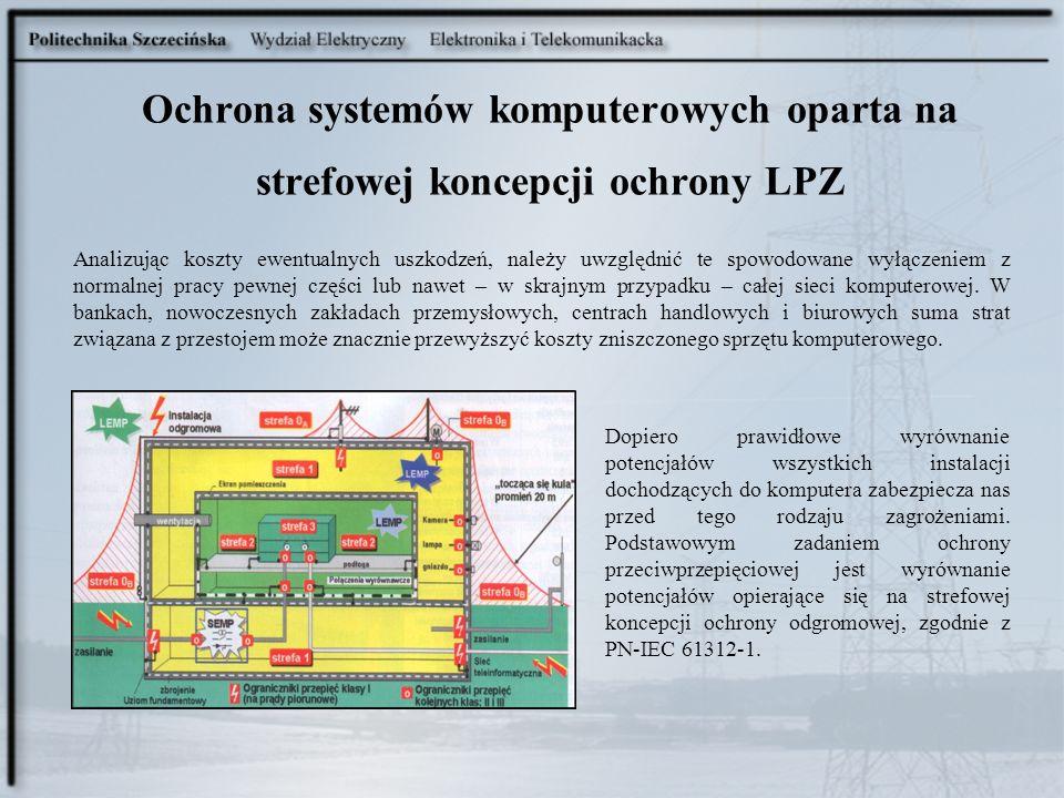 Ochrona systemów komputerowych oparta na strefowej koncepcji ochrony LPZ Analizując koszty ewentualnych uszkodzeń, należy uwzględnić te spowodowane wy