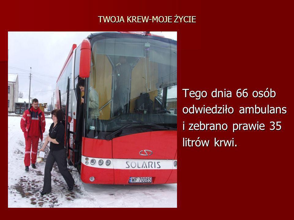 TWOJA KREW-MOJE ŻYCIE Tego dnia 66 osób odwiedziło ambulans i zebrano prawie 35 litrów krwi.