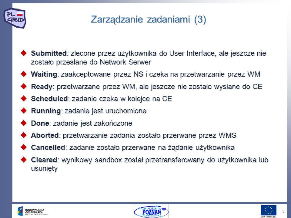 8 Zarządzanie zadaniami (3) Submitted: zlecone przez użytkownika do User Interface, ale jeszcze nie zostało przesłane do Network Serwer Submitted: zlecone przez użytkownika do User Interface, ale jeszcze nie zostało przesłane do Network Serwer Waiting: zaakceptowane przez NS i czeka na przetwarzanie przez WM Waiting: zaakceptowane przez NS i czeka na przetwarzanie przez WM Ready: przetwarzane przez WM, ale jeszcze nie zostało wysłane do CE Ready: przetwarzane przez WM, ale jeszcze nie zostało wysłane do CE Scheduled: zadanie czeka w kolejce na CE Scheduled: zadanie czeka w kolejce na CE Running: zadanie jest uruchomione Running: zadanie jest uruchomione Done: zadanie jest zakończone Done: zadanie jest zakończone Aborted: przetwarzanie zadania zostało przerwane przez WMS Aborted: przetwarzanie zadania zostało przerwane przez WMS Cancelled: zadanie zostało przerwane na żądanie użytkownika Cancelled: zadanie zostało przerwane na żądanie użytkownika Cleared: wynikowy sandbox został przetransferowany do użytkownika lub usunięty Cleared: wynikowy sandbox został przetransferowany do użytkownika lub usunięty