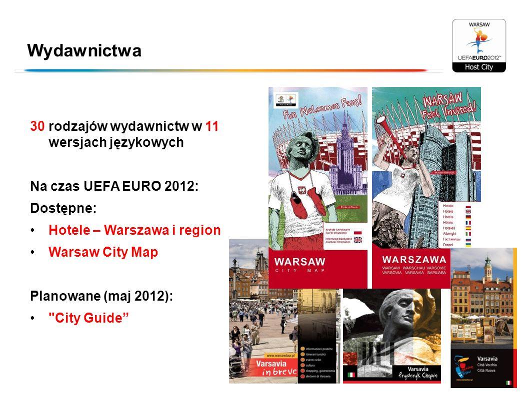 Wydawnictwa 30 rodzajów wydawnictw w 11 wersjach językowych Na czas UEFA EURO 2012: Dostępne: Hotele – Warszawa i region Warsaw City Map Planowane (ma