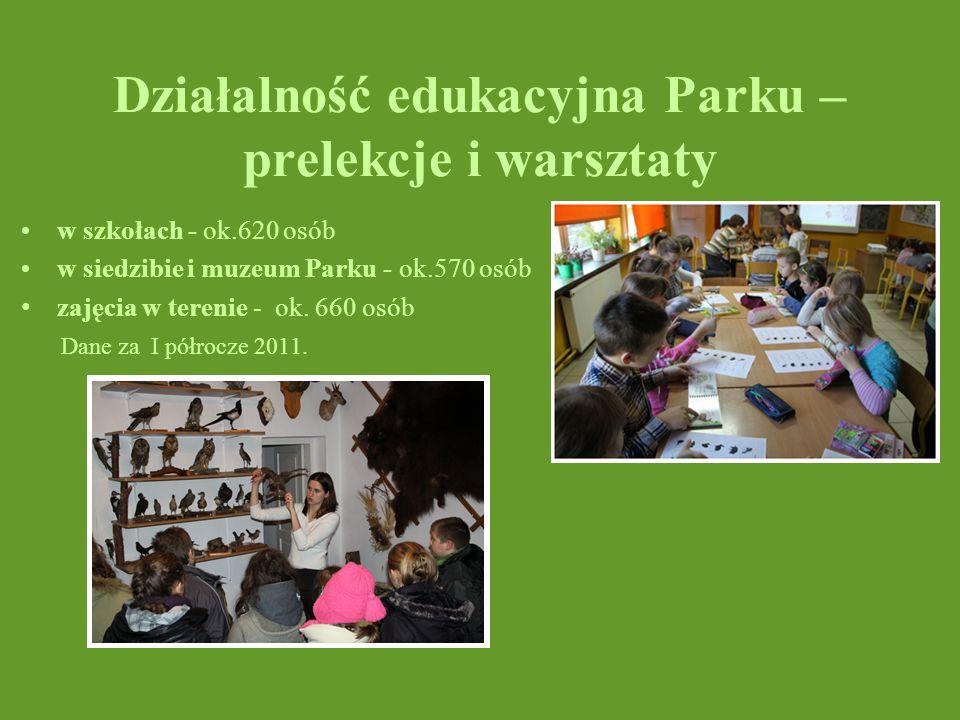 Działalność edukacyjna Parku – prelekcje i warsztaty w szkołach - ok.620 osób w siedzibie i muzeum Parku - ok.570 osób zajęcia w terenie - ok. 660 osó