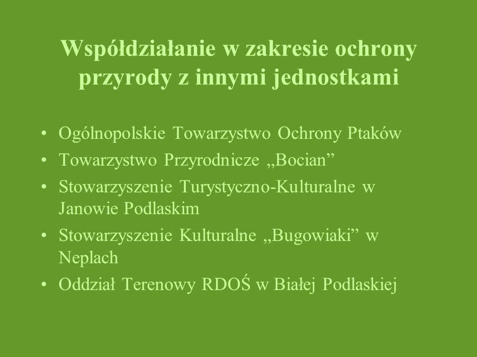 Współdziałanie w zakresie ochrony przyrody z innymi jednostkami Ogólnopolskie Towarzystwo Ochrony Ptaków Towarzystwo Przyrodnicze Bocian Stowarzyszeni