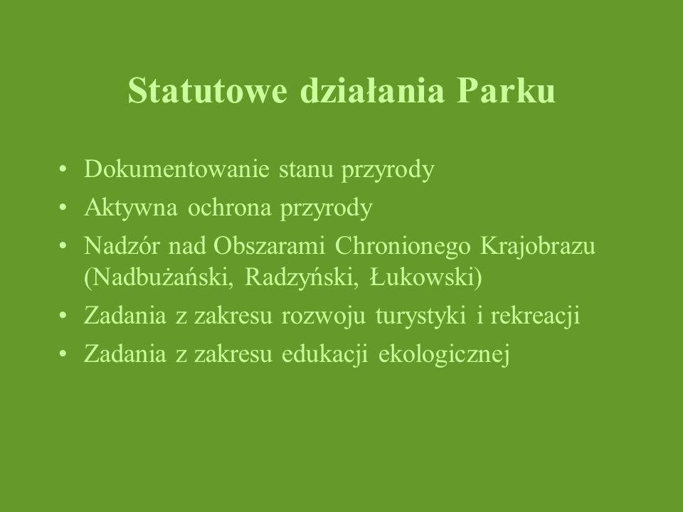 Statutowe działania Parku Dokumentowanie stanu przyrody Aktywna ochrona przyrody Nadzór nad Obszarami Chronionego Krajobrazu (Nadbużański, Radzyński,