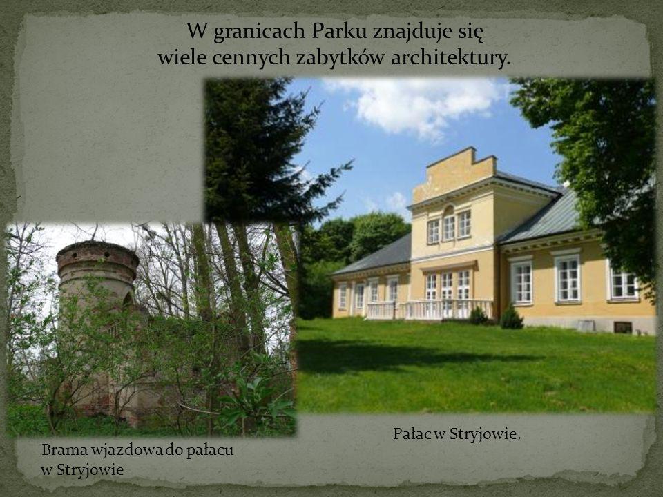 W granicach Parku znajduje się wiele cennych zabytków architektury. Pałac w Stryjowie. Brama wjazdowa do pałacu w Stryjowie