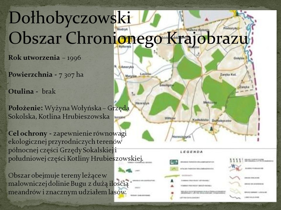 Dołhobyczowski Obszar Chronionego Krajobrazu Rok utworzenia – 1996 Powierzchnia - 7 307 ha Otulina - brak Położenie: Wyżyna Wołyńska – Grzęda Sokolska