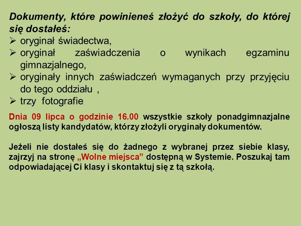UWAGA!!.Listy wolnych miejsc zostaną też wywieszone we wszystkich szkołach ponadgimnazjalnych.