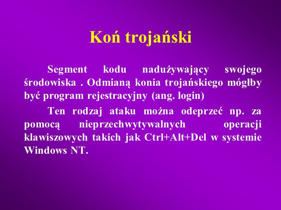 Zagrożenia Koń trojański (ang. trojan horse) Boczne wejścia Robaki (ang. worm) Wirusy (ang. virus)