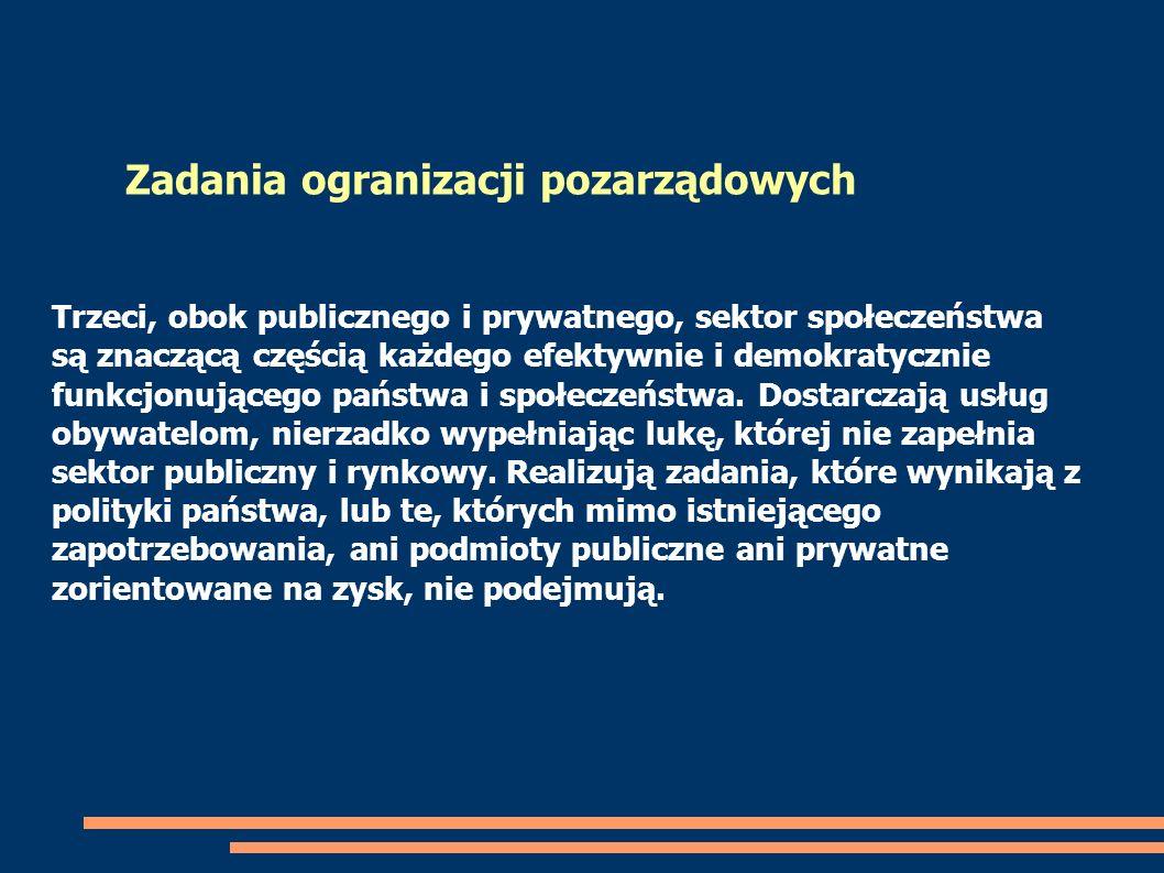 Trzeci, obok publicznego i prywatnego, sektor społeczeństwa są znaczącą częścią każdego efektywnie i demokratycznie funkcjonującego państwa i społecze