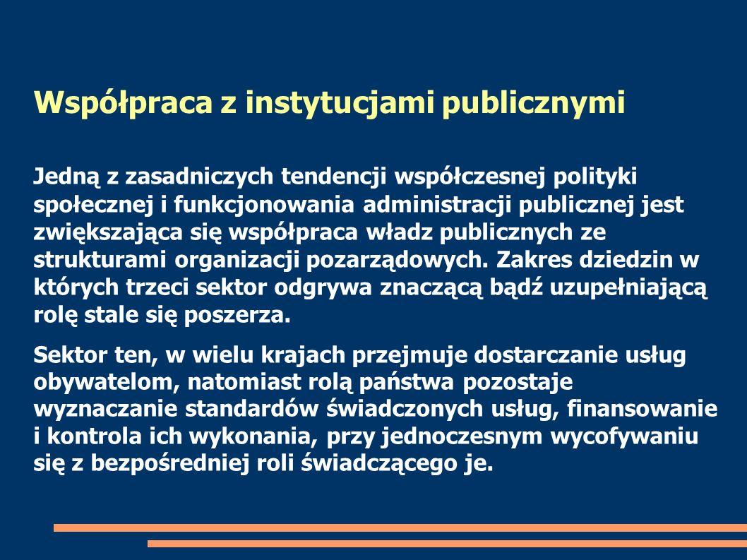 Współpraca z instytucjami publicznymi Jedną z zasadniczych tendencji współczesnej polityki społecznej i funkcjonowania administracji publicznej jest z