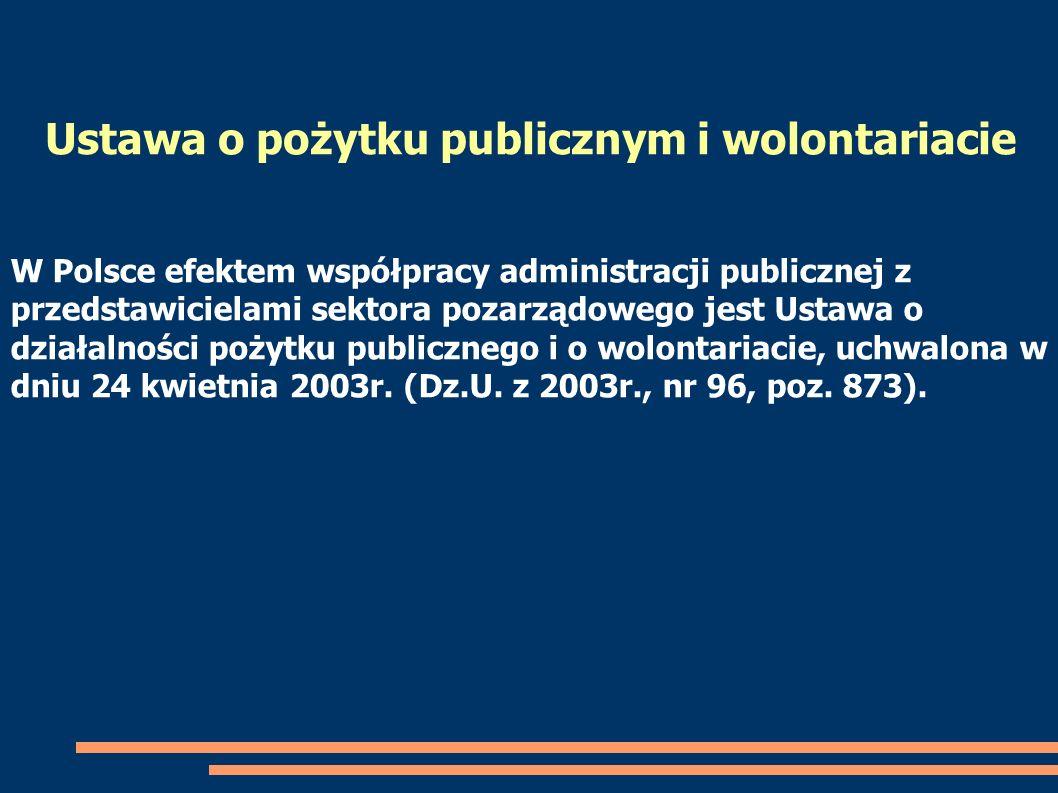 W Polsce efektem współpracy administracji publicznej z przedstawicielami sektora pozarządowego jest Ustawa o działalności pożytku publicznego i o wolo