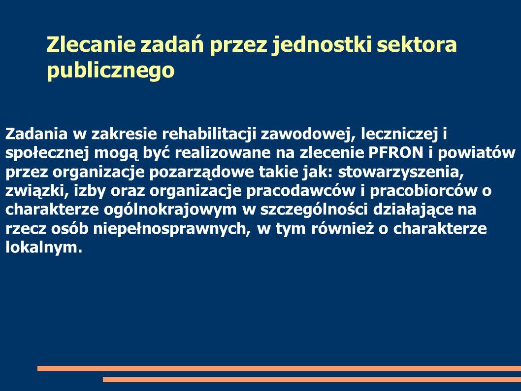 Zadania w zakresie rehabilitacji zawodowej, leczniczej i społecznej mogą być realizowane na zlecenie PFRON i powiatów przez organizacje pozarządowe ta