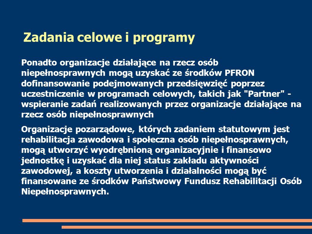 Ponadto organizacje działające na rzecz osób niepełnosprawnych mogą uzyskać ze środków PFRON dofinansowanie podejmowanych przedsięwzięć poprzez uczest