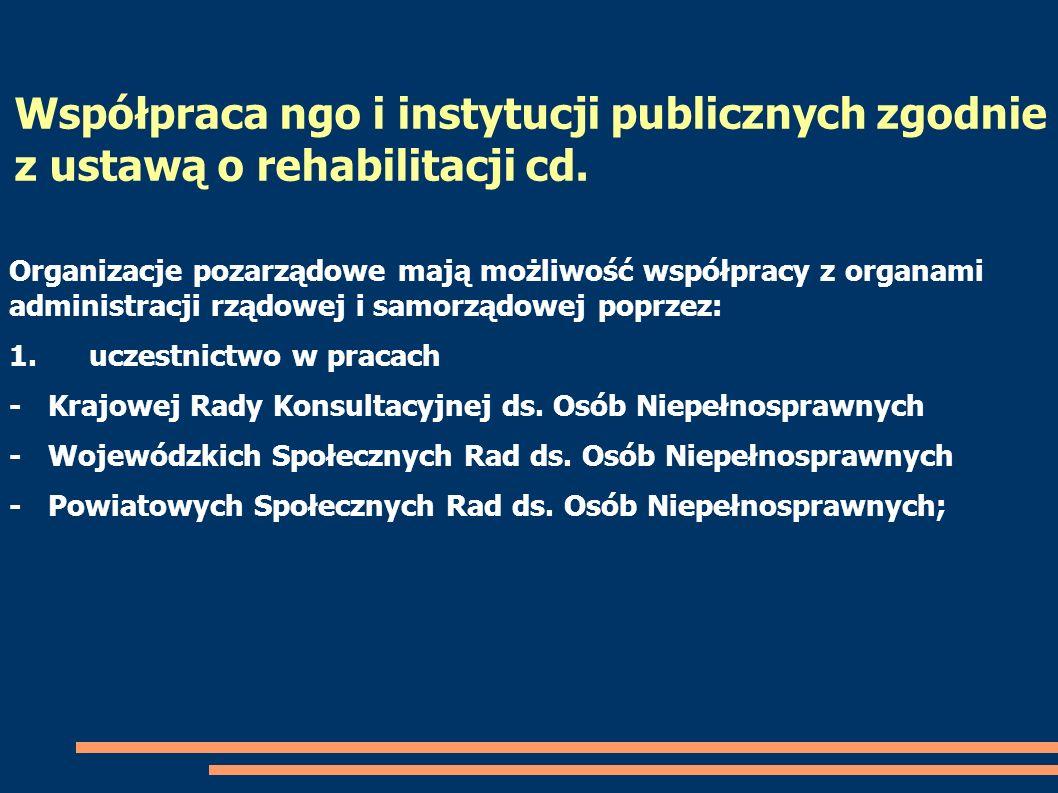 Współpraca ngo i instytucji publicznych zgodnie z ustawą o rehabilitacji cd. Organizacje pozarządowe mają możliwość współpracy z organami administracj