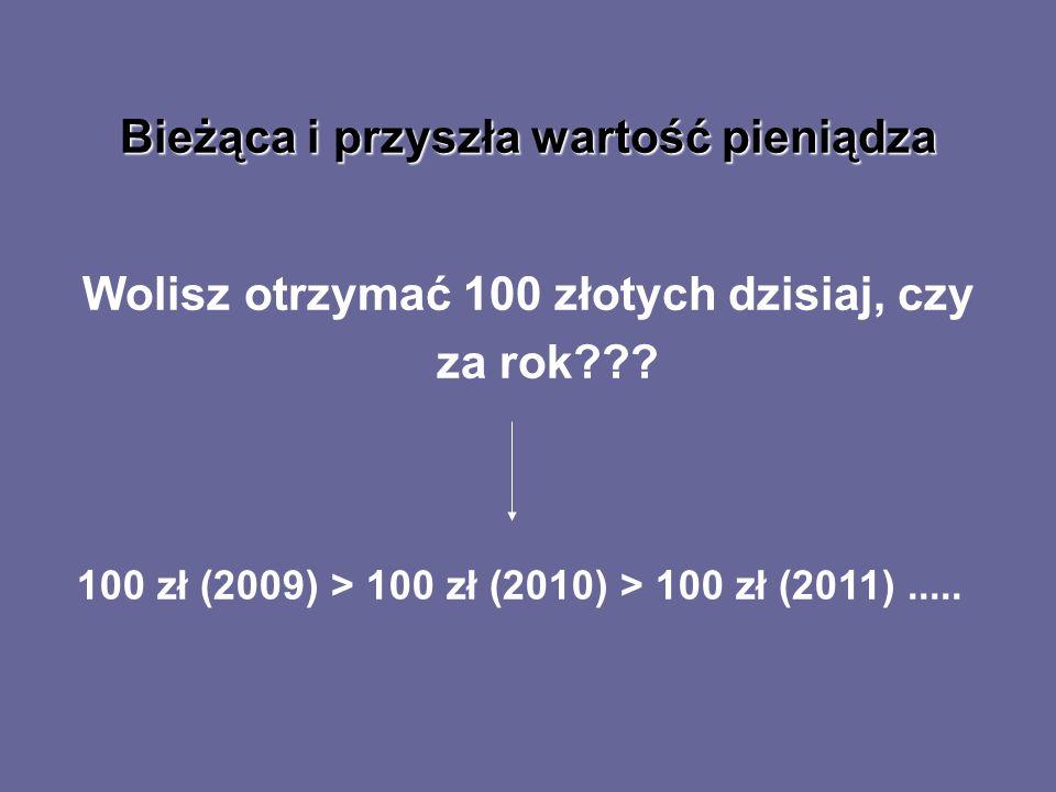 Bieżąca i przyszła wartość pieniądza Wolisz otrzymać 100 złotych dzisiaj, czy za rok??? 100 zł (2009) > 100 zł (2010) > 100 zł (2011).....
