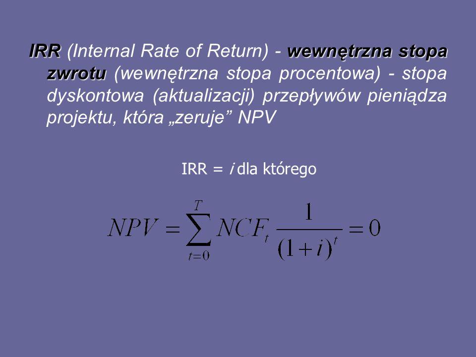 IRRwewnętrzna stopa zwrotu IRR (Internal Rate of Return) - wewnętrzna stopa zwrotu (wewnętrzna stopa procentowa) - stopa dyskontowa (aktualizacji) prz