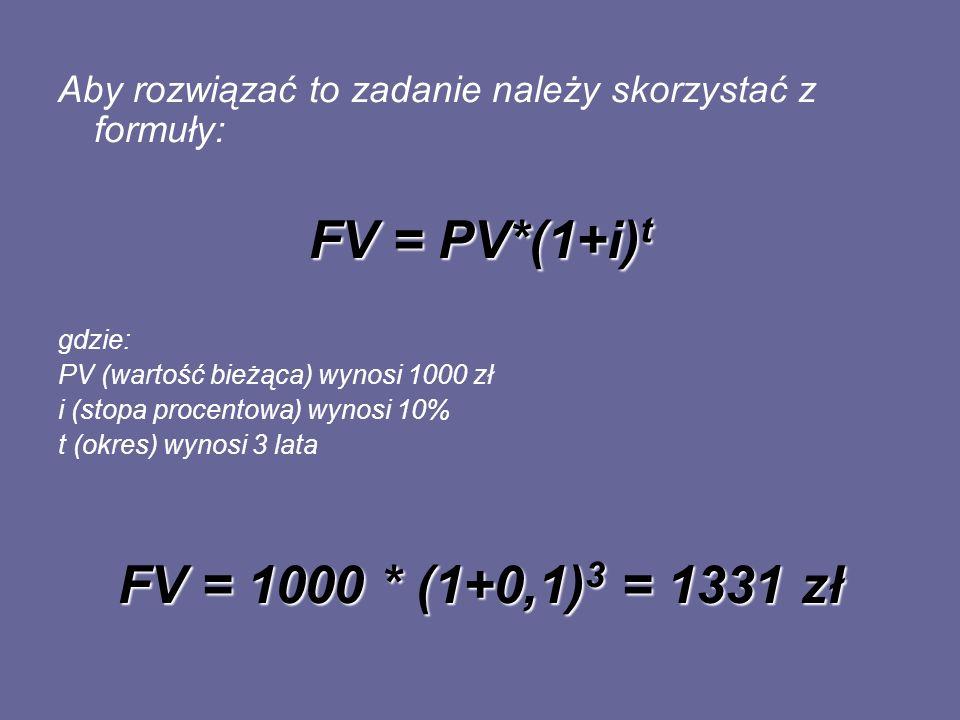 Aby rozwiązać to zadanie należy skorzystać z formuły: FV = PV*(1+i) t gdzie: PV (wartość bieżąca) wynosi 1000 zł i (stopa procentowa) wynosi 10% t (ok