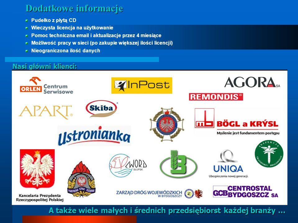 Nasi główni klienci: A także wiele małych i średnich przedsiębiorst każdej branży... Dodatkowe informacje Pudełko z płytą CD Wieczysta licencja na uży