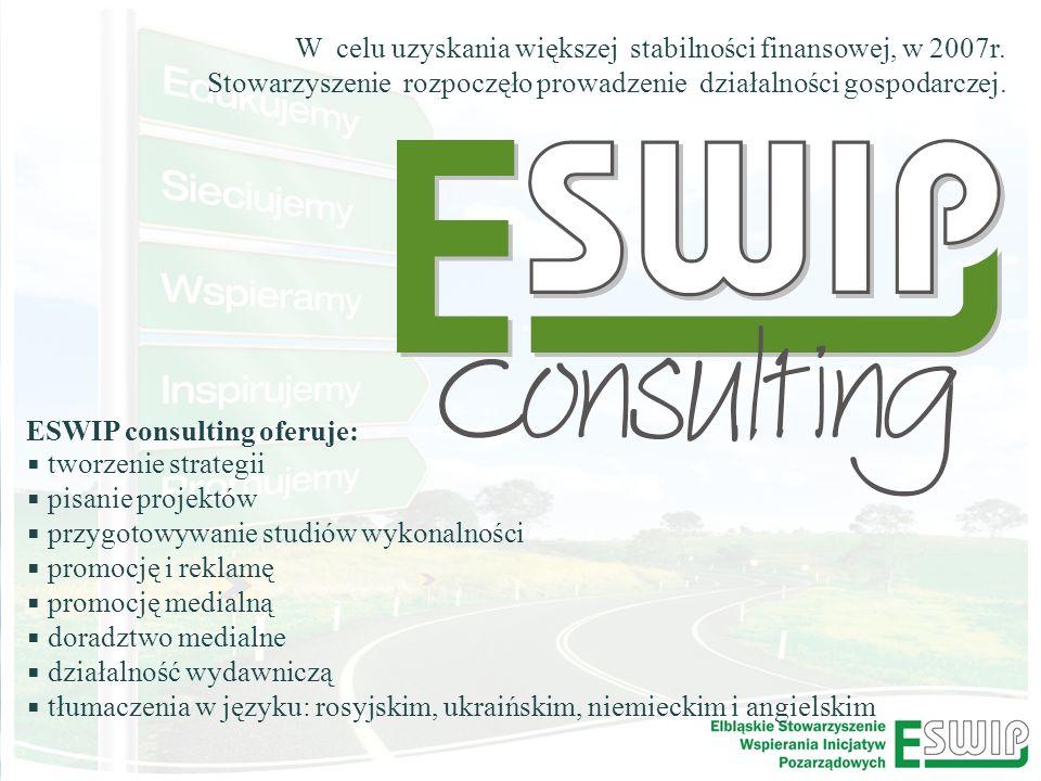 Organizacje pozarządowe jako podmiot ekonomii społecznej ESWIP consulting oferuje: tworzenie strategii pisanie projektów przygotowywanie studiów wykonalności promocję i reklamę promocję medialną doradztwo medialne działalność wydawniczą tłumaczenia w języku: rosyjskim, ukraińskim, niemieckim i angielskim W celu uzyskania większej stabilności finansowej, w 2007r.