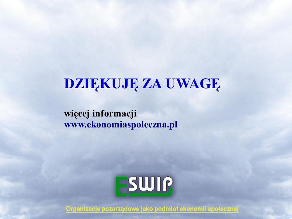 Organizacje pozarządowe jako podmiot ekonomii społecznej DZIĘKUJĘ ZA UWAGĘ więcej informacji www.ekonomiaspoleczna.pl