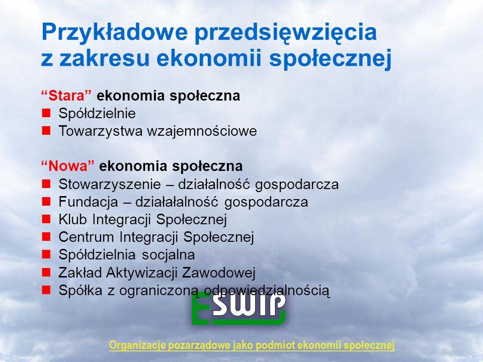 Organizacje pozarządowe jako podmiot ekonomii społecznej Przykładowe przedsięwzięcia z zakresu ekonomii społecznej Stara ekonomia społeczna Spółdzieln