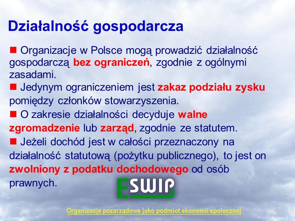 Organizacje pozarządowe jako podmiot ekonomii społecznej Działalność gospodarcza Organizacje w Polsce mogą prowadzić działalność gospodarczą bez ogran