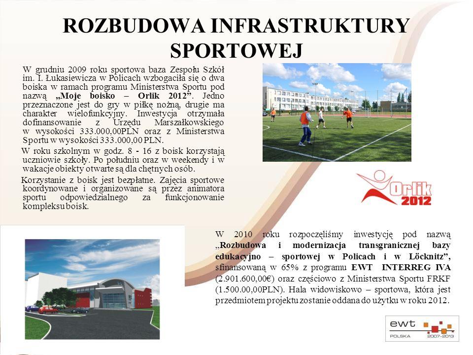 ROZBUDOWA INFRASTRUKTURY SPORTOWEJ W grudniu 2009 roku sportowa baza Zespołu Szkół im. I. Łukasiewicza w Policach wzbogaciła się o dwa boiska w ramach